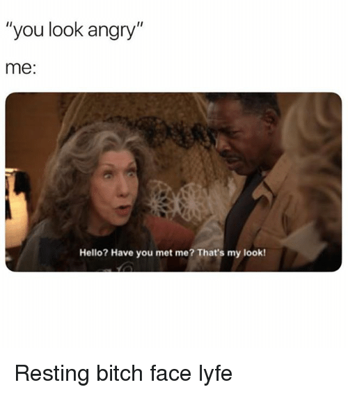 """Bitch, Hello, and Girl Memes: """"you look angry""""  me:  Hello? Have you met me? That's my look! Resting bitch face lyfe"""