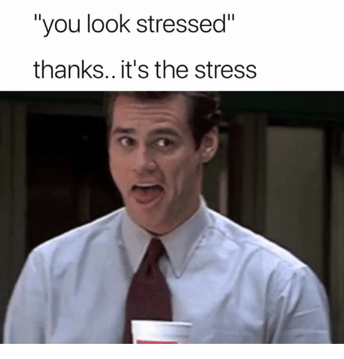 """Stress, You, and Look: """"you look stressed""""  thanks.. it's the stress"""