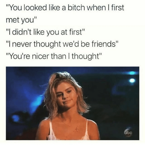 "Bitch, Friends, and Girl Memes: ""You looked like a bitch when I first  met you""  ""I didn't like you at first""  ""I never thought we'd be friends'""  ""You're nicer than I thought"""