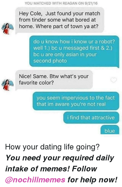 Dating Life: YOU MATCHED WITH REAGAN ON 9/21/16  Hey Cole, Just found your match  from tinder some what bored at  home. Where part of town ya at?  do u know how i know ur a robot?  well 1.) bc u messaged first & 2.)  bc u are only asian in your  second photo  Nice! Same. Btw what's your  favorite color?  you seem impervious to the fact  that im aware you're not real  i find that attractive  blue <p>How your dating life going?</p><p><b><i>You need your required daily intake of memes! Follow <a>@nochillmemes</a> for help now!</i></b><br/></p>