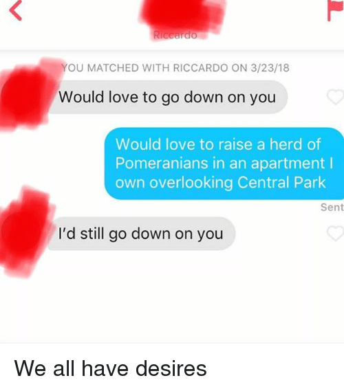Love, Central Park, and Down: YOU MATCHED WITH RICCARDO ON 3/23/18  Would love to go down on you  Would love to raise a herd of  Pomeranians in an apartment I  own overlooking Central Park  Sent  I'd still go down on you We all have desires