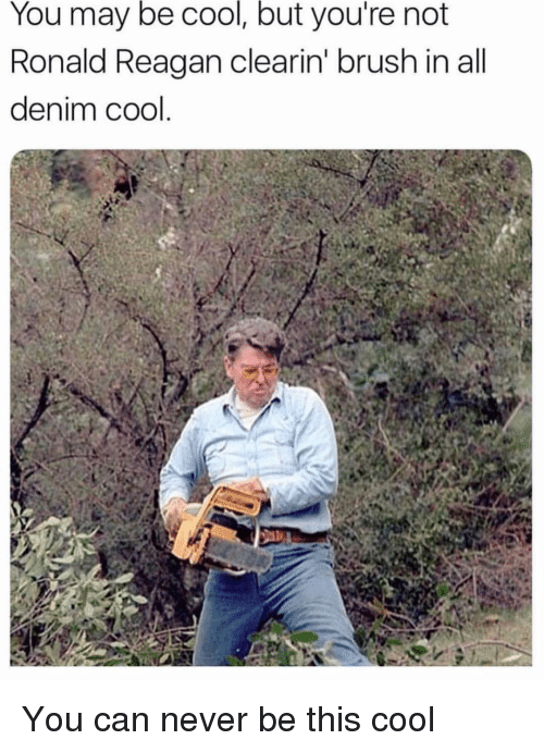 Memes, Cool, and Never: You may be cool, but you're not  Ronald Reagan clearin' brush in all  denim cool You can never be this cool