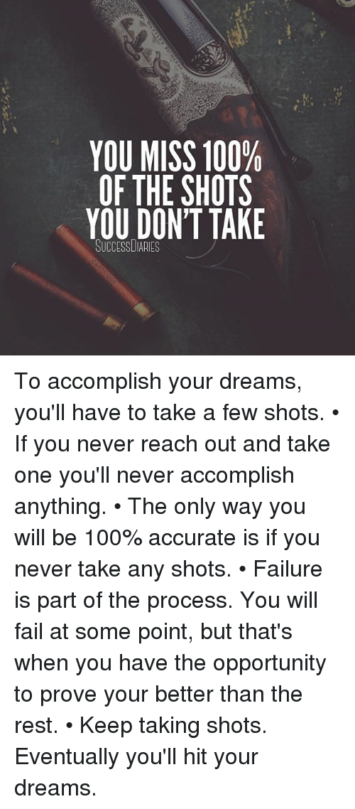 Anaconda, Fail, and Memes: YOU MISS 100%  OF THE SHOTS  YOU DON'T TAKE  SUCCESSUIARIES To accomplish your dreams, you'll have to take a few shots. • If you never reach out and take one you'll never accomplish anything. • The only way you will be 100% accurate is if you never take any shots. • Failure is part of the process. You will fail at some point, but that's when you have the opportunity to prove your better than the rest. • Keep taking shots. Eventually you'll hit your dreams.