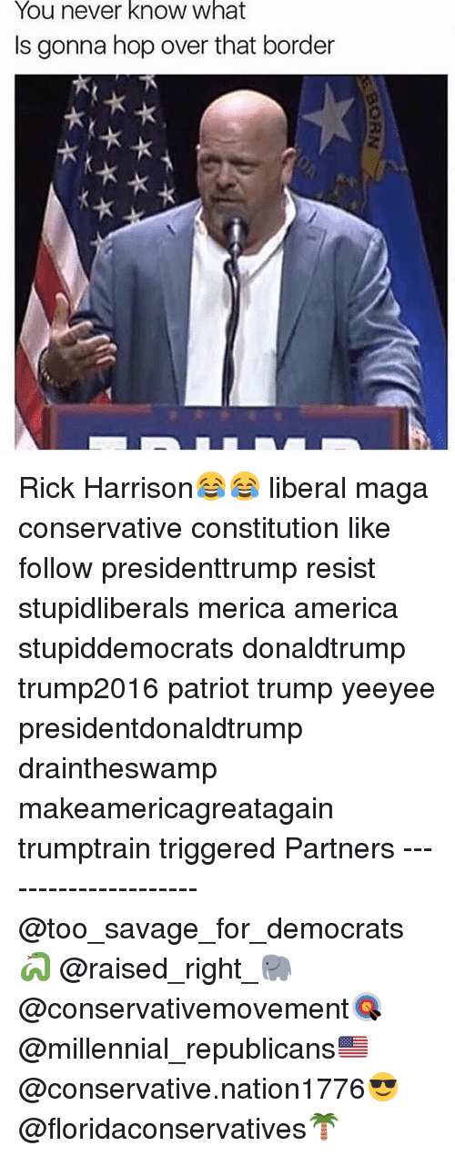 rick harrison: You never know what  Is gonna hop over that border Rick Harrison😂😂 liberal maga conservative constitution like follow presidenttrump resist stupidliberals merica america stupiddemocrats donaldtrump trump2016 patriot trump yeeyee presidentdonaldtrump draintheswamp makeamericagreatagain trumptrain triggered Partners --------------------- @too_savage_for_democrats🐍 @raised_right_🐘 @conservativemovement🎯 @millennial_republicans🇺🇸 @conservative.nation1776😎 @floridaconservatives🌴