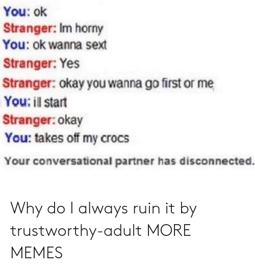 Crocs: You: ok  Stranger: Im horny  You: ok wanna sext  Stranger: Yes  Stranger: okay you wanna go first or me  You: il start  Stranger:okay  You: takes off my crocs  Your conversational partner has disconnected. Why do I always ruin it by trustworthy-adult MORE MEMES