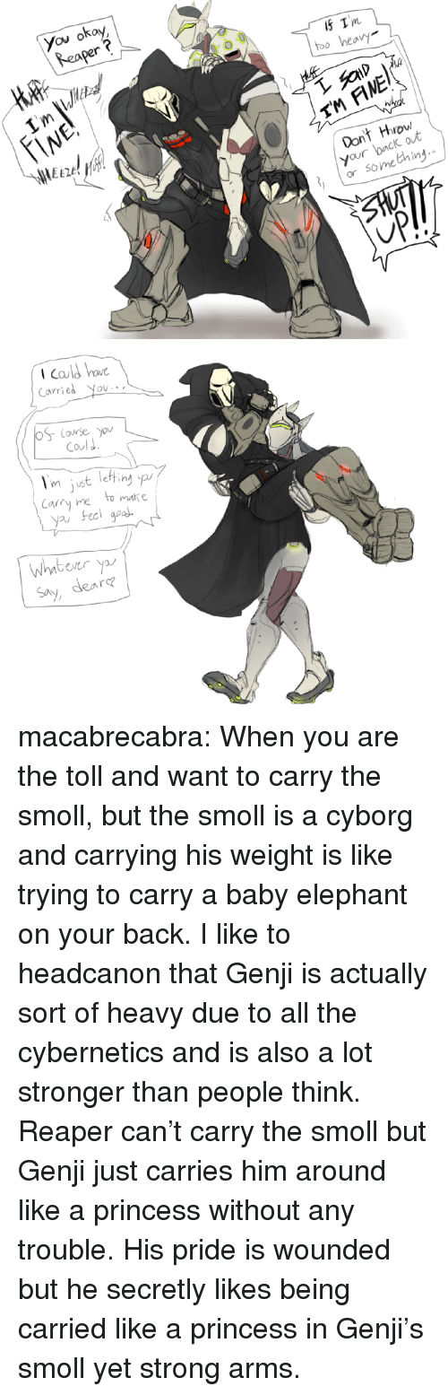 Baby Elephant: You okay  Reaper  Tm  too heav  TM FINE  Dont Hrow  your back out  or something   Icald bo  Carries You  Coul J  m uS  Cary ne to matke  yau Feci goa  Whntbever y  Say, dea  re macabrecabra: When you are the toll and want to carry the smoll, but the smoll is a cyborg and carrying his weight is like trying to carry a baby elephant on your back.  I like to headcanon that Genji is actually sort of heavy due to all the cybernetics and is also a lot stronger than people think. Reaper can't carry the smoll but Genji just carries him around like a princess without any trouble. His pride is wounded but he secretly likes being carried like a princess in Genji's smoll yet strong arms.