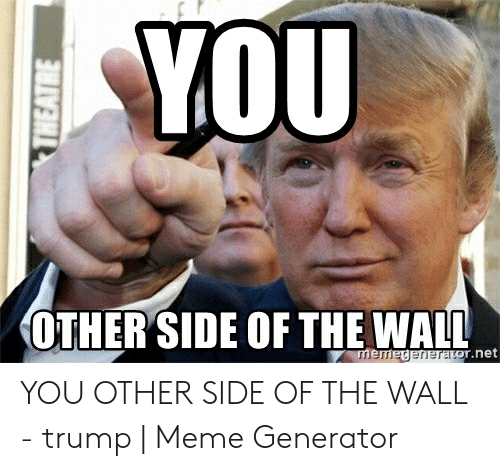 Other Side Of The Wall For You: YoU  OTHER SIDE OF THE WALL  r.net  ner YOU OTHER SIDE OF THE WALL - trump | Meme Generator