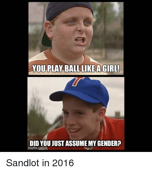 Sandlot, Coma, and Play: You PLAY BALL LIKE AGIRL!  DID YOU JUST ASSUME MYGENDER?  imgfip.comA Sandlot in 2016