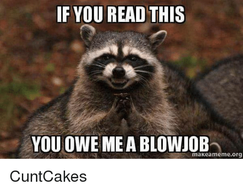 Blowjob, Memes, and 🤖: YOU READ THIS  YOU OWE ME A BLOWJOB  makeameme org ♡CuntCakes♡