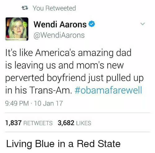 Memes, Wendys, and Blue In: You Retweeted  Wendi Aarons  @Wendi Aarons  It's like America's amazing dad  is leaving us and mom's new  perverted boyfriend just pulled up  in his Trans-Am  #obama farewell  9:49 PM 10 Jan 17  1,837  RETWEETS 3,682  LIKES Living Blue in a Red State