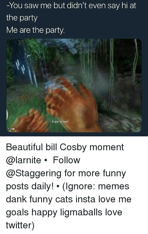 Beautiful, Bill Cosby, and Cats: -You saw me but dian't even say hi at  the party  Me are the party. Beautiful bill Cosby moment @larnite • ➫➫➫ Follow @Staggering for more funny posts daily! • (Ignore: memes dank funny cats insta love me goals happy ligmaballs love twitter)