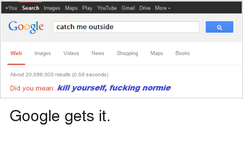 Catch Me Outside: +You Search Images Maps Play YouTube Gmail Drive More  Google  catch me outside  Web ImagesVideos News Shopping Maps Boos  About 20,688,000 results (0,58 seconds)  Did you mean: kill yourselt, fucking normie <p>Google gets it.</p>