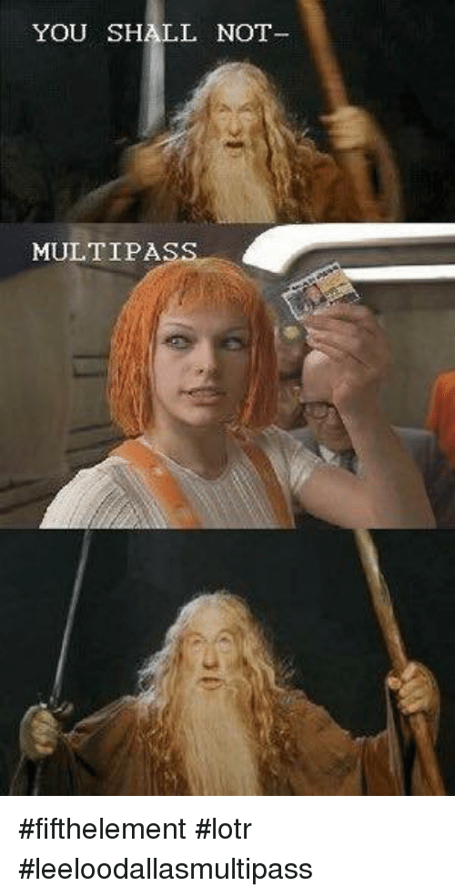 Memes, 🤖, and Lotr: YOU SHALL NOT  MULTIPA #fifthelement #lotr #leeloodallasmultipass