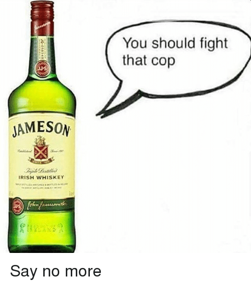 Irish, Say No More, and Dank Memes: You should fight  that cop  JAMESON  IRISH WHISKEY Say no more