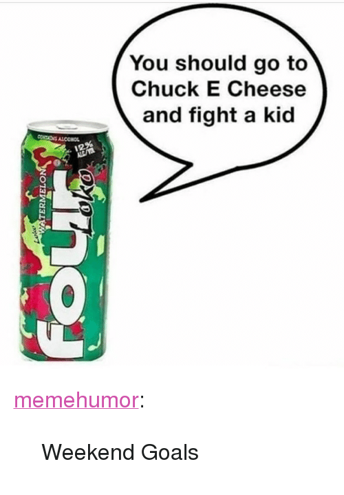 """Chuck E Cheese, Goals, and Tumblr: You should go to  Chuck E Cheese  and fight a kid  12% <p><a href=""""http://memehumor.net/post/166653699393/weekend-goals"""" class=""""tumblr_blog"""">memehumor</a>:</p>  <blockquote><p>Weekend Goals</p></blockquote>"""