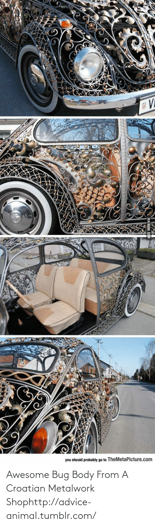 Croatian: you should probably go to TheMetaPicture.com Awesome Bug Body From A Croatian Metalwork Shophttp://advice-animal.tumblr.com/
