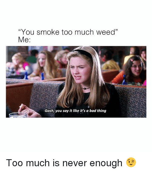 "never enough: ""You smoke too much weed""  Me:  Gosh, you say it like it's a bad thing Too much is never enough 😉"