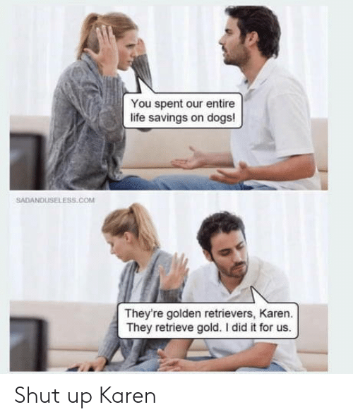 i did it: You spent our entire  life savings on dogs!  SADANDUSELESS.cOM  They're golden retrievers, Karen.  They retrieve gold. I did it for us. Shut up Karen