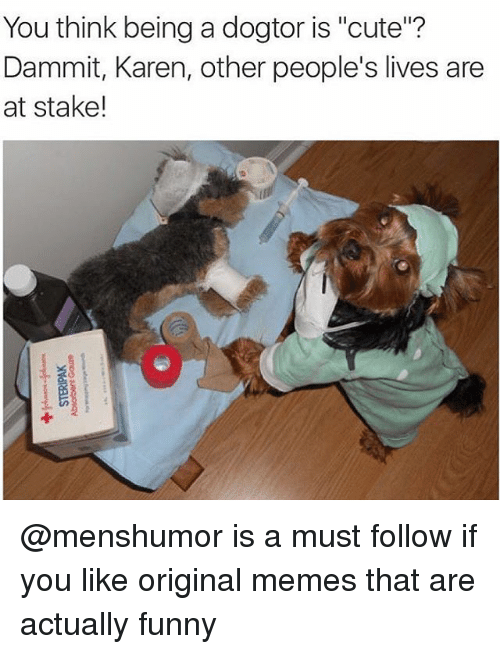 "Origin Meme: You think being a dogtor is ""cute""?  Dammit, Karen, other people's lives are  at stake! @menshumor is a must follow if you like original memes that are actually funny"