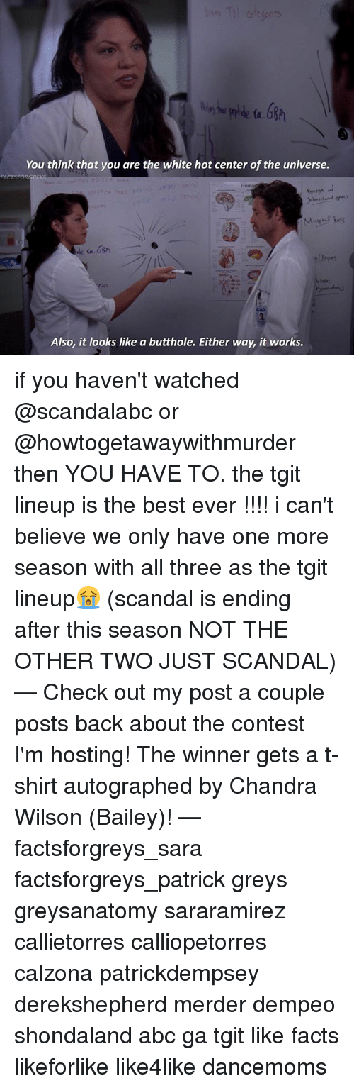 autographed: You think that you are the white hot center of the universe.  Huma  Also, it looks like a butthole. Either way, it works. if you haven't watched @scandalabc or @howtogetawaywithmurder then YOU HAVE TO. the tgit lineup is the best ever !!!! i can't believe we only have one more season with all three as the tgit lineup😭 (scandal is ending after this season NOT THE OTHER TWO JUST SCANDAL) — Check out my post a couple posts back about the contest I'm hosting! The winner gets a t-shirt autographed by Chandra Wilson (Bailey)! — factsforgreys_sara factsforgreys_patrick greys greysanatomy sararamirez callietorres calliopetorres calzona patrickdempsey derekshepherd merder dempeo shondaland abc ga tgit like facts likeforlike like4like dancemoms