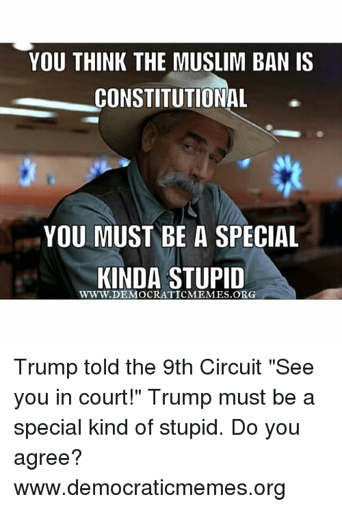 """Memes, 🤖, and  Circuit: YOU THINK THE MUSLIM BAN IS  CONSTITUTIONAL  YOU MUST BE A SPECIAL  KINDA STUPID Trump told the 9th Circuit """"See you in court!"""" Trump must be a special kind of stupid. Do you agree?   www.democraticmemes.org"""