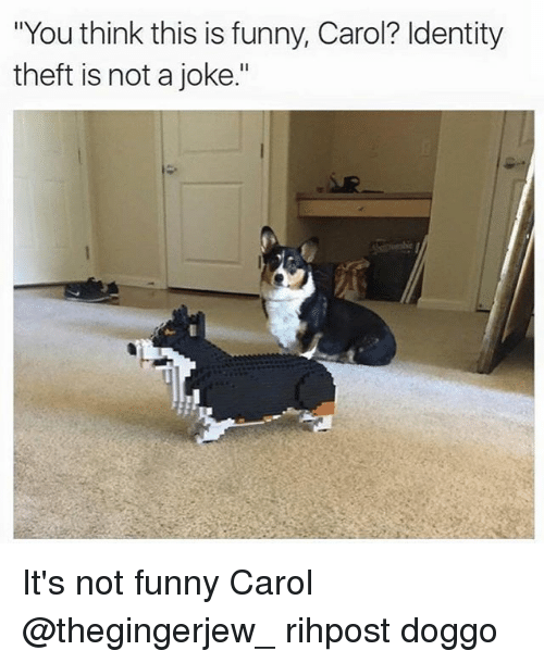 """Its Not Funny: """"You think this is funny, Carol? Identity  theft is not a joke."""" It's not funny Carol @thegingerjew_ rihpost doggo"""