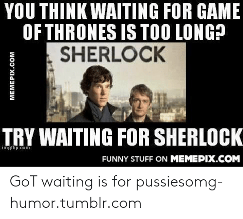 Game of Thrones: YOU THINK WAITING FOR GAME  OF THRONES IS TOO LONG?  SHERLOCK  TRY WAITING FOR SHERLOCK  imgflip.com  FUNNY STUFF ON MEMEPIX.COM  MEMEPIX.COM GoT waiting is for pussiesomg-humor.tumblr.com
