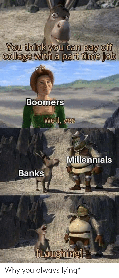 Think You: You think you can pay off  college with a part time job  Boomers  Well, yes  Millennials  Banks  ELalughingl= Why you always lying*