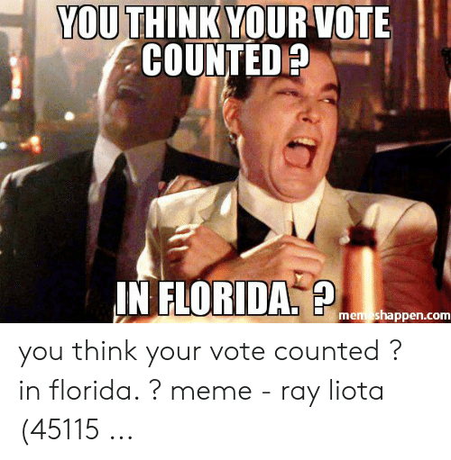 Florida Meme: YOU THINK YOURVOTE  COUNTED  IN FLORIDA  mem shappen.com you think your vote counted ? in florida. ? meme - ray liota (45115 ...