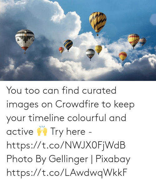 photo: You too can find curated images on Crowdfire to keep your timeline colourful and active 🙌  Try here - https://t.co/NWJX0FjWdB  Photo By Gellinger | Pixabay https://t.co/LAwdwqWkkF