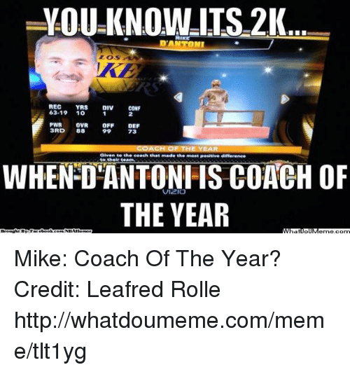 pwr: YOU TS21  MIKE  REC  YRS  DIV  CONF  63.19  10  PWR OVR  OFF  DEF  3RD  88  73  to coach that made the ment Posunive differene.  to their team.  WHEN COACH OF  THE YEAR Mike: Coach Of The Year? Credit: Leafred Rolle  http://whatdoumeme.com/meme/tlt1yg