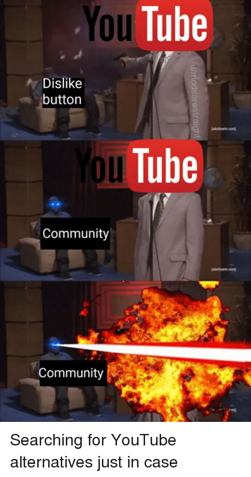 You Tube: You  Tube  Dislike  button  2o  oul  uTube  Community  Community Searching for YouTube alternatives just in case