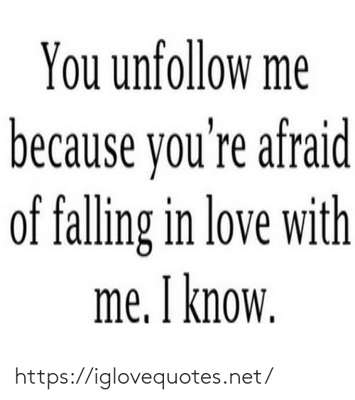 falling in love: You unfollow me  because you're afraid  of falling in love with  me. I know. https://iglovequotes.net/