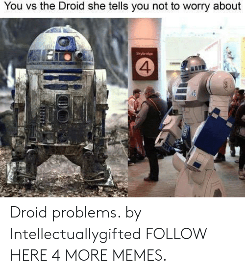 droid: You vs the Droid she tells you not to worry about  Skybridge  4 Droid problems. by Intellectuallygifted FOLLOW HERE 4 MORE MEMES.