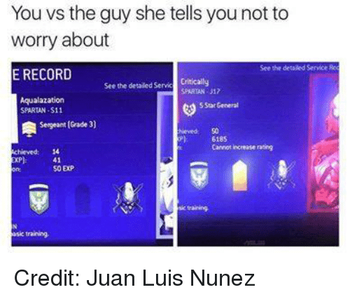 spartans: You vs the guy she tells you not to  worry about  See the detaled Service fee  E RECORD  See the detailed Servic  Critically  SPARTAN J12  Aqualazation  SStat General  SPARTAN-S11  Sergeant (Grade 3  6185  cannot increase rating  41  50 EXP  esic training. Credit: Juan Luis Nunez