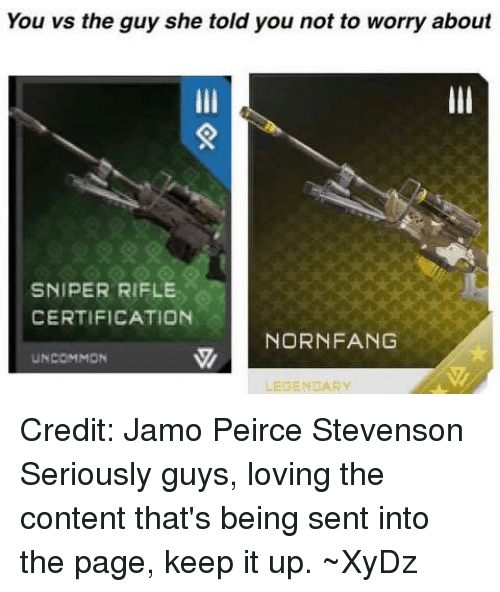 Seriously Guys: You vs the guy she told you not to worry about  SNIPER RIFLE  CERTIFICATION  NORNFANG  UNCOMMON  LEGENDARY Credit: Jamo Peirce Stevenson  Seriously guys, loving the content that's being sent into the page, keep it up.  ~XyDz