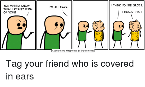 all ears: YOU WANNA KNOW  WHAT I REALLY THINK  OF YOU!?  M ALL EARS.  anide and Happiness O Explosm.net  I THINK You'RE GROSS.  I HEARD THAT!! Tag your friend who is covered in ears