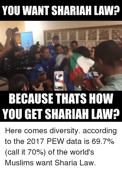 sharia: YOU WANT SHARIAH LAW?  BECAUSE THATS HOW  YOU GET SHARIAH LAW? Here comes diversity. according to the 2017 PEW data is 69.7% (call it 70%) of the world's Muslims want Sharia Law.