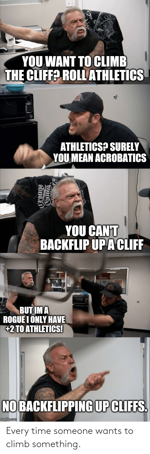 Athletics: YOU WANT TO CLIMB  THE CLIFF? ROLL ATHLETICS  ATHLETICS? SURELY  YOU MEAN ACROBATICS  YOU CAN'T  BACKFLIP UPA CLIFF  BUT IM A  ROGUE I ONLY HAVE  +2 TO ATHLETICS!  NO BACKFLIPPING UP CLIFFS.  imgflip.com  hung Every time someone wants to climb something.
