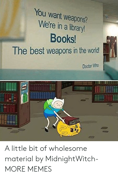 Doctor Who: You want weapons?  We're in a library!  Books!  The best weapons in the world  Doctor Who A little bit of wholesome material by MidnightWitch- MORE MEMES