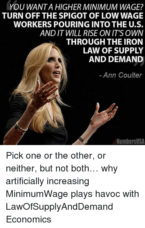 ann coulter: YOU WANTA HIGHER MINIMUM WAGE?  TURN OFF THE SPIGOT OF LOWWAGE  WORKERS POURING INTO THE U.S.  AND IT WILL RISE ON IT'S OWN  THROUGH THE IRON  LAW OF SUPPLY  AND DEMAND  Ann Coulter  NumbersUSA Pick one or the other, or neither, but not both… why artificially increasing MinimumWage plays havoc with LawOfSupplyAndDemand Economics