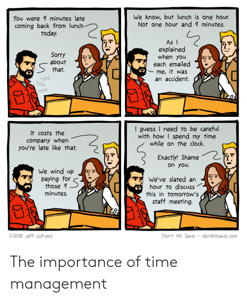 Staff Meeting: You were minutes late  coming back from lunch  today.  We know, but lunch is one hour.  Not one hour and 9 minutes.  Sorry  about  that.  As I  explained  when you  each emailed  me, it was  an accident.  type  type  type  It costs the  company when  you're late like that.  I guess I need to be careful  with how I spend my time  while on the clock.  Exactly! Shame  on you  We wind up o  paying for  those 9  minutes.  We've slated an  hour to discuss  this in tomorrow's  staff meeting.  ©2018 Jeff Lofvers  Don't Hit Save - donthitsave.com The importance of time management