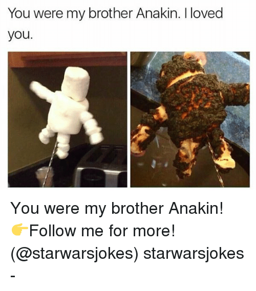you were my brother anakin: You were my brother Anakin. I loved  you. You were my brother Anakin! 👉Follow me for more! (@starwarsjokes) starwarsjokes -