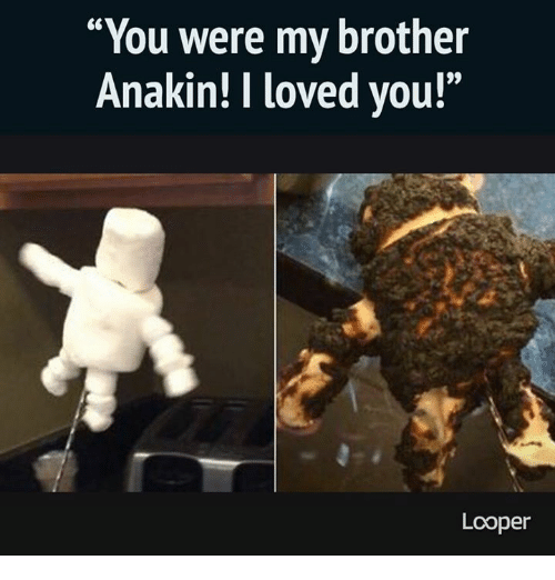 "you were my brother anakin: You were my brother  Anakin! loved you!""  Looper"