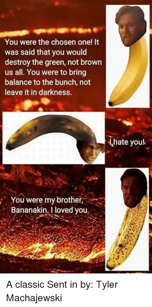 bringed: You were the chosen one! It  was said that you would  destroy the green, not brown  us all. You were to bring  balance to the bunch, not  leave it in darkness.  hate youl  You were my brother,  Bananakin, I loved you A classic Sent in by: Tyler Machajewski