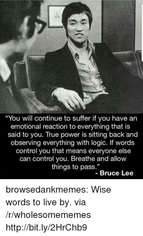 """Bruce Lee: """"You will continue to suffer if you have an  emotional reaction to everything that is  said to you. True power is sitting back and  observing everything with logic. If words  control you that means everyone else  can control you. Breathe and allow  things to pass.""""  -Bruce Lee browsedankmemes:  Wise words to live by. via /r/wholesomememes http://bit.ly/2HrChb9"""