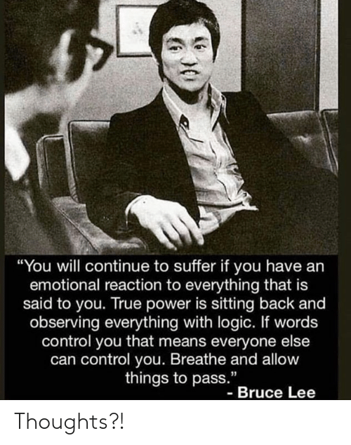 """Bruce Lee: """"You will continue to suffer if you have an  emotional reaction to everything that is  said to you. True power is sitting back and  observing everything with logic. If words  control you that means everyone else  can control you. Breathe and allow  things to pass.""""  - Bruce Lee Thoughts?!"""
