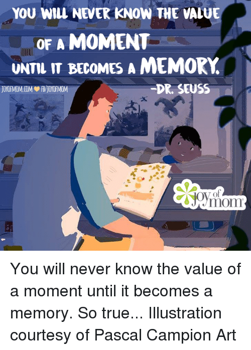 Dr. Seuss, Memes, and 🤖: YOU WILL NEVER KNOW THE VALUE  OF A MOMENT  UNTIL IT BECOMES A MEMORY  DR SEUSS You will never know the value of a moment until it becomes a memory. So true...  Illustration courtesy of Pascal Campion Art