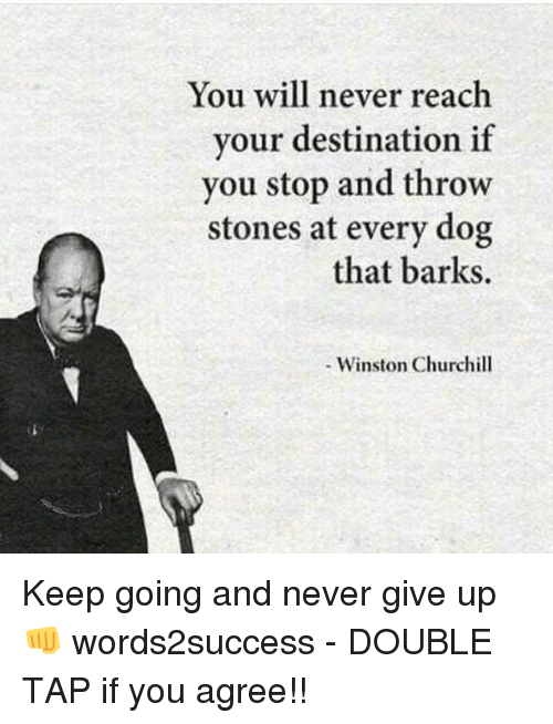 Winston Churchill: You will never reach  vour destination if  you stop and throw  stones at every dog  that barks.  - Winston Churchill Keep going and never give up👊 words2success - DOUBLE TAP if you agree!!