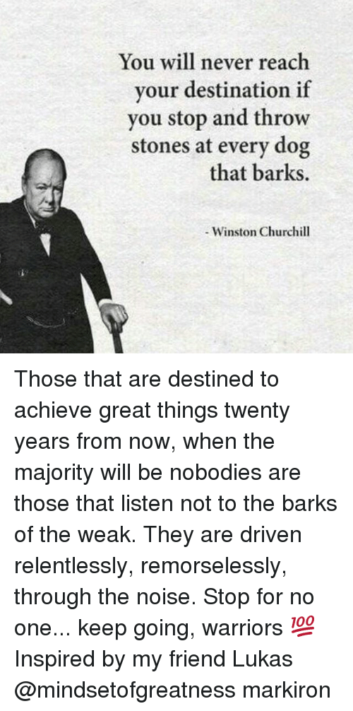 Memes, 🤖, and Reach: You will never reach  your destination if  you stop and throw  stones at every dog  that barks.  Winston Churchill Those that are destined to achieve great things twenty years from now, when the majority will be nobodies are those that listen not to the barks of the weak. They are driven relentlessly, remorselessly, through the noise. Stop for no one... keep going, warriors 💯 Inspired by my friend Lukas @mindsetofgreatness markiron